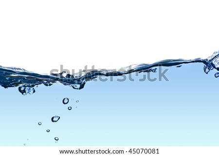 Isolated water splashing with bubbles and water drops - abstract background environmental theme