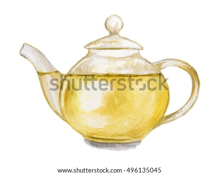 Isolated watercolor green tea pot on white background. Asian style. Natural and healthy drink.