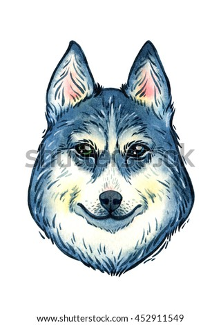 Isolated watercolor husky portrait on white background