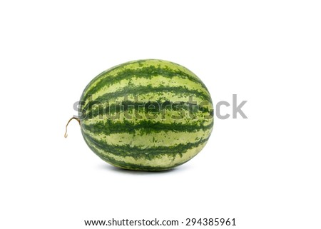 Isolated Watermelon full put on white background,  side view