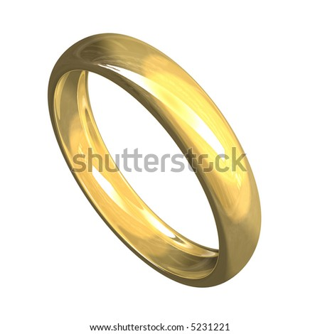 isolated wedding ring in gold (3D) - stock photo