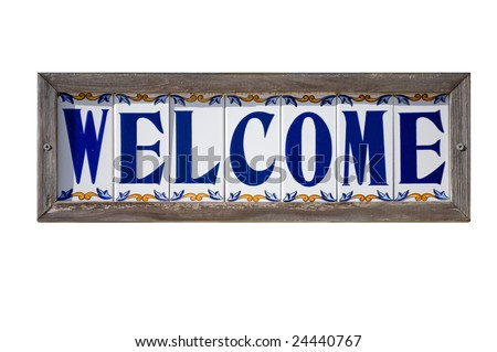 Isolated Welcome sign on Spanish tiles - stock photo