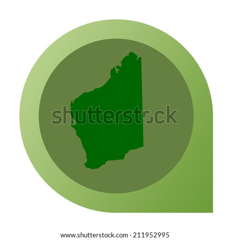 Isolated Western Australia map marker pin in flat web design style.