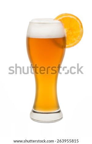 Isolated Wheat Beer, with Orange Slice #1 - stock photo