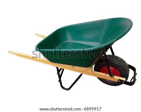 Isolated wheelbarrow gardening tool on white background - stock photo