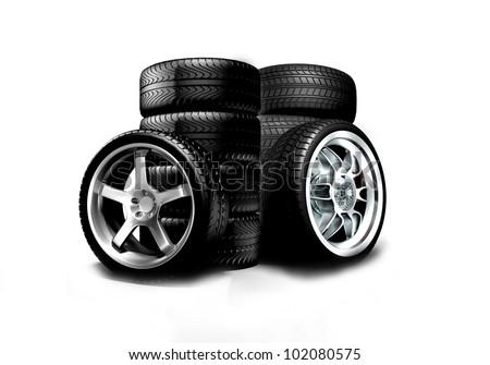 Isolated wheels on white background - stock photo