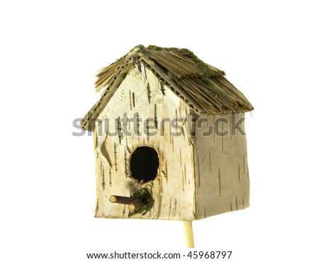 isolated white birch birdhouse - stock photo