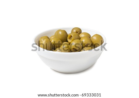 isolated white bowl with green tinned olives - stock photo