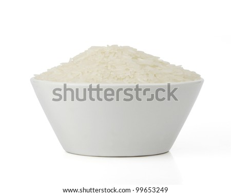 Isolated white bowl with rice - stock photo