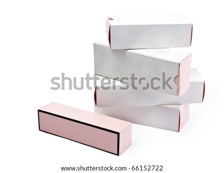 isolated white boxes on a white background - stock photo