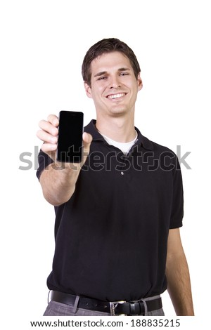 Isolated White Businessman Showing His Cell Phone