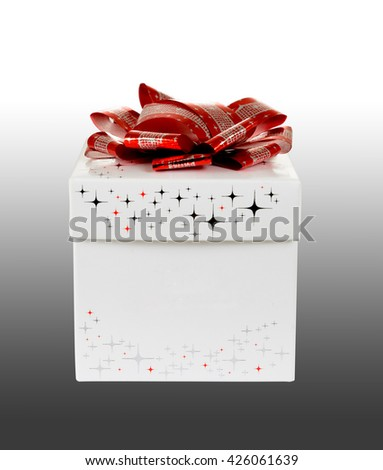 isolated white-colored gift box on gray-gradient background with clipping-path