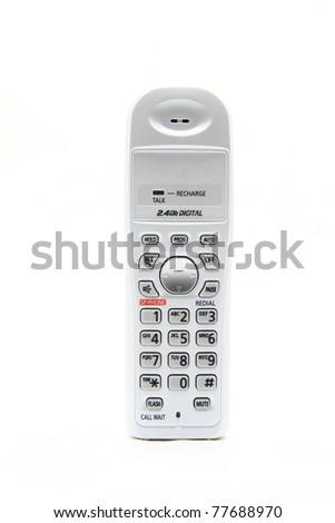 isolated white cordless phone on white - stock photo
