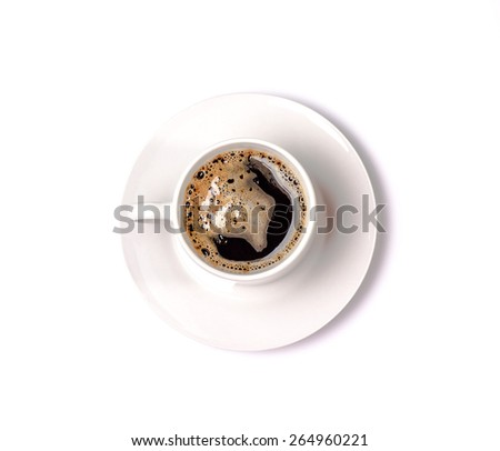 isolated white cup of coffee with foam. Top view - stock photo