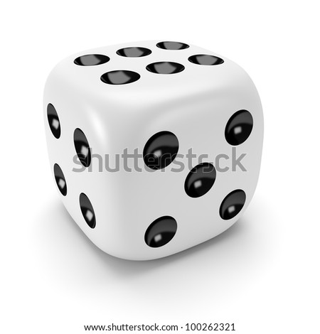 Isolated white dice with black dots - stock photo