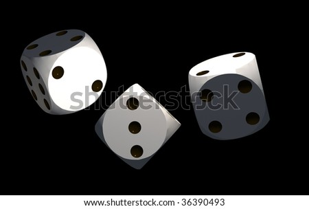 isolated white dices on black background - 3d render illustration