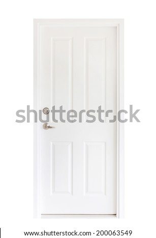 Isolated white door