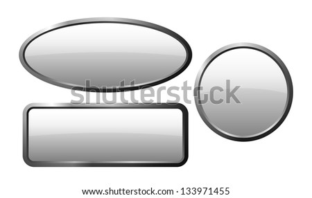 isolated white glass buttons with gloss and metal edge