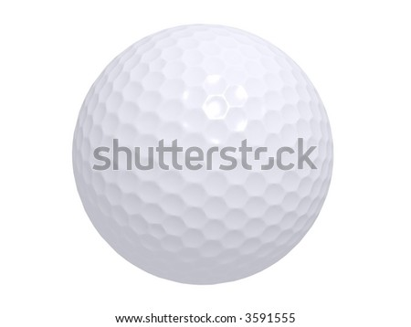 isolated white golf ball - stock photo