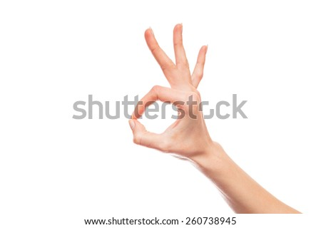 Isolated white hand showing ok sign - stock photo