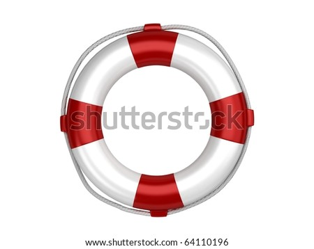 Isolated white life preserver - stock photo