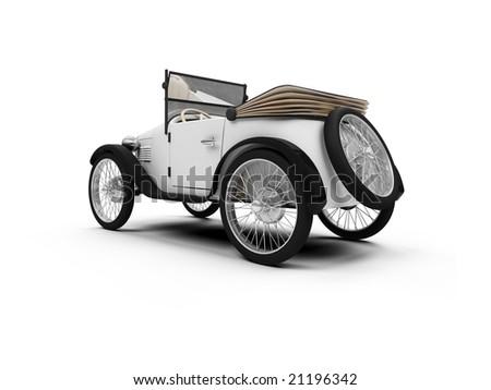 isolated white Old fashioned retro car over white - stock photo