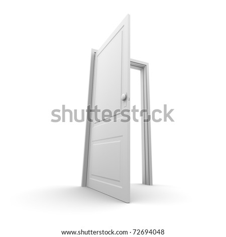 Isolated white opened door - wide angle render - stock photo