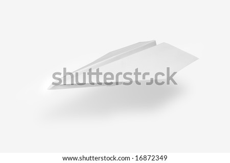 Isolated white paper airplane - stock photo