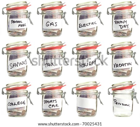 isolated  white savings jars with saving titles on labeles