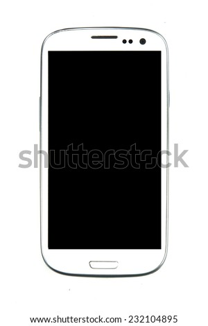 Isolated white screen 4.7 inch black screen smart phone with smart camera front and back: this phone is touch and slide with touch screen phone. - stock photo