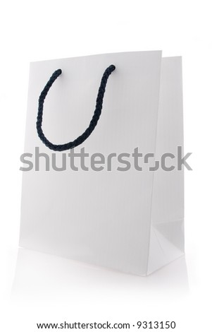 Isolated white shopping bag with blue handles - stock photo