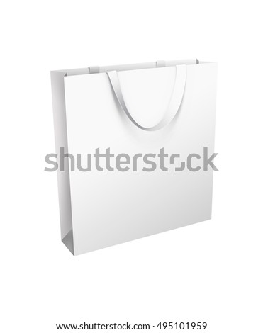 Isolated white shopping bag with the white handle