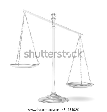 Isolated white silver scales on white background. Symbol of judgement. Law, measurement, liberty in one concept. 3D rendering. - stock photo