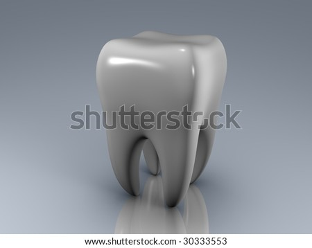 isolated white tooth on a reflecting surface - stock photo