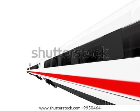 isolated white train on white background - stock photo