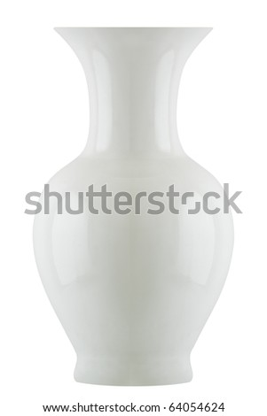Isolated White Vase (with clipping patch) - stock photo