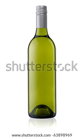 Isolated white wine bottle with a clipping path - stock photo