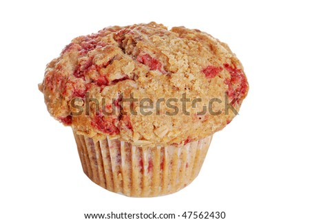 isolated whole wheat raspberry muffin - stock photo