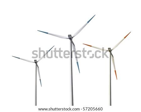 Isolated wind turbines - stock photo