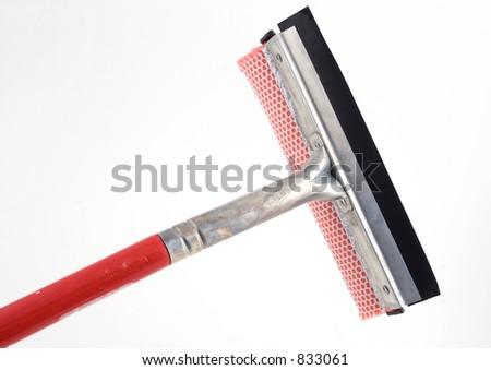 isolated window washing brush - stock photo