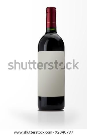 isolated wine bottle on white background - stock photo