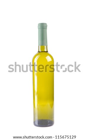 isolated wine bottle with white wine