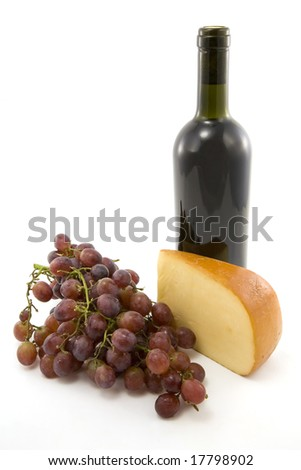 Isolated wine, cheese and grapes