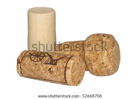 isolated wine cork arrangement - stock photo