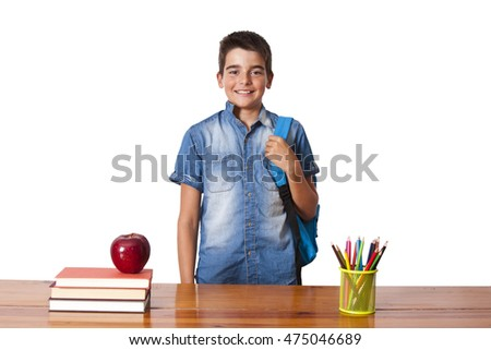 isolated with child student desk