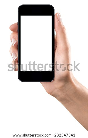 isolated with clipping path female hand holding the phone similar to iphone with isolated white screen - stock photo