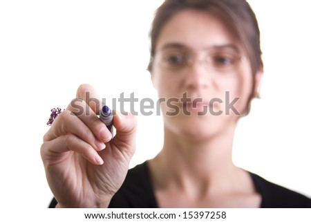 isolated woman drawing in a transparent glass - stock photo
