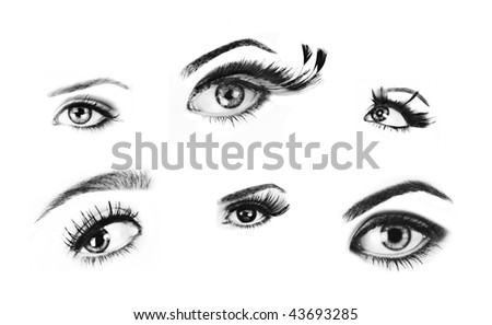 Isolated woman eyes from high quality retouched images to use as brushes made from my photographs - stock photo
