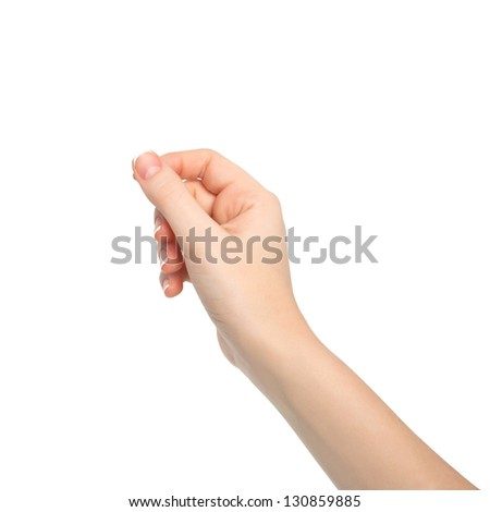 isolated woman hand holding an object - stock photo