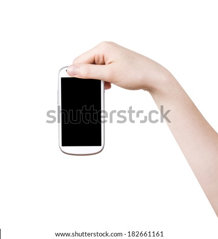 isolated woman hand holding the phone tablet touch computer gadget